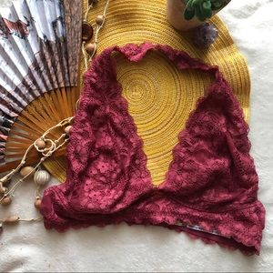Free People Intimately Wine Deep Red Bralette Lace